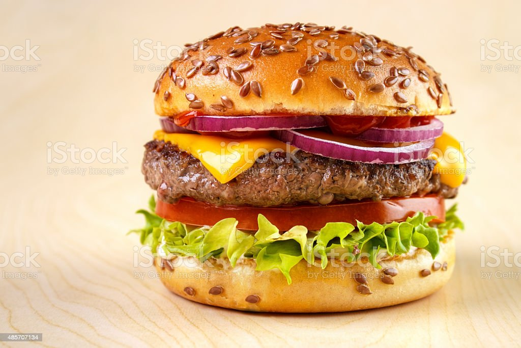 Burger with flax seeds royalty-free stock photo