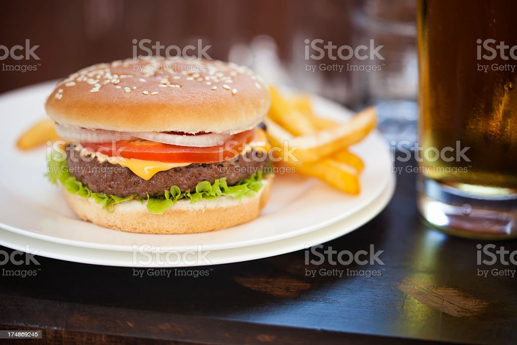 Burger with Fries royalty-free stock photo