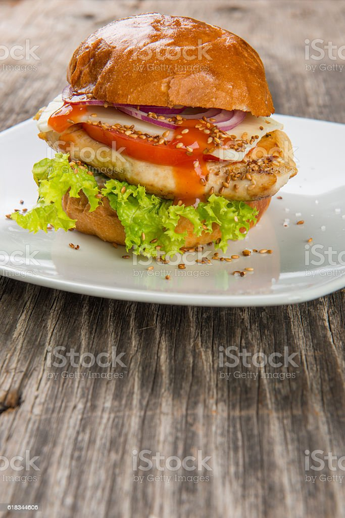 Burger with grilled chicken stock photo