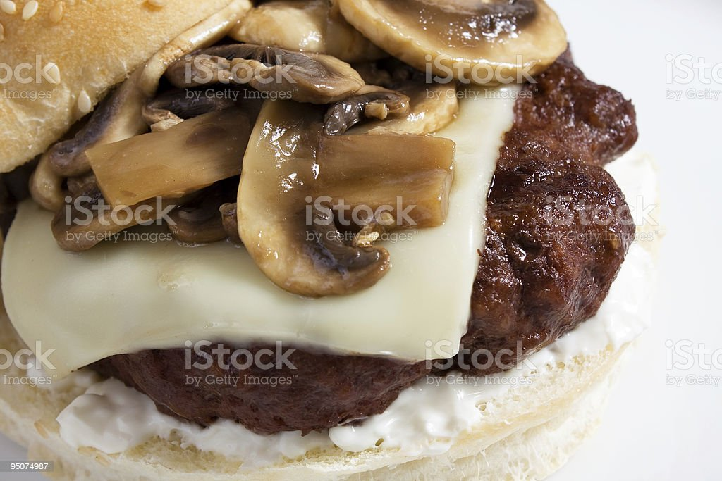 Burger with Mushroom & Swiss royalty-free stock photo