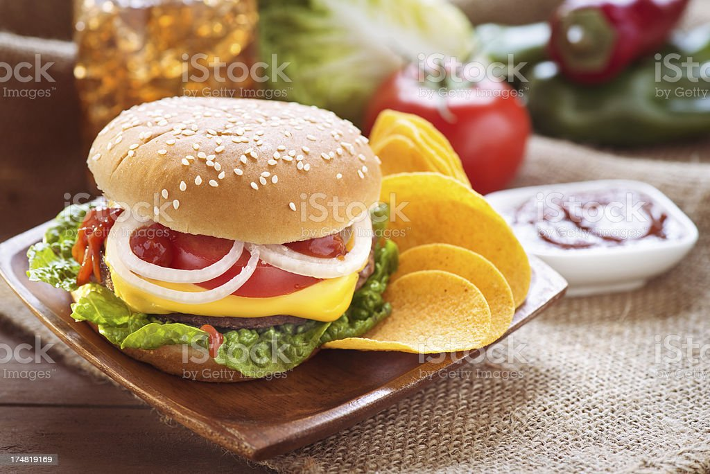 Burger with potato chips royalty-free stock photo