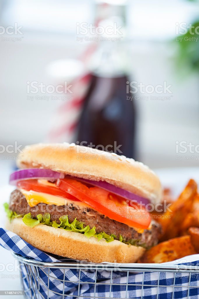 Burger with Potato Wedges royalty-free stock photo