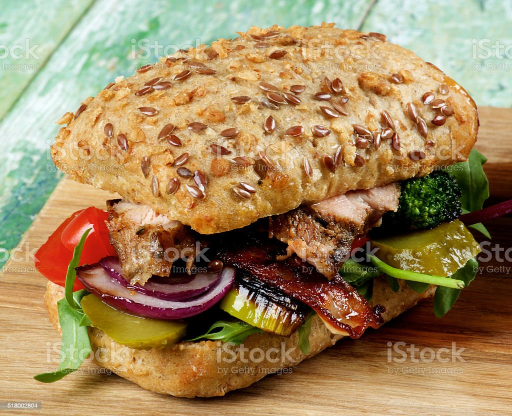 Burger with Roasted Pork stock photo