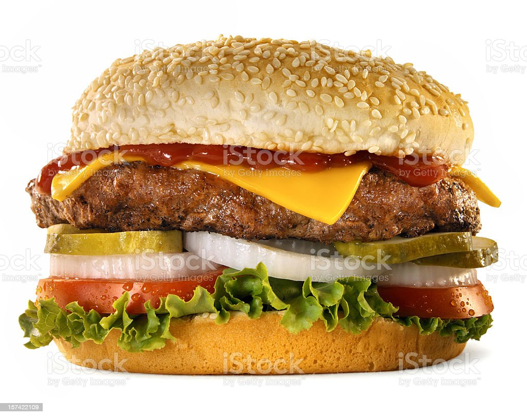 Burger with the works, white background stock photo