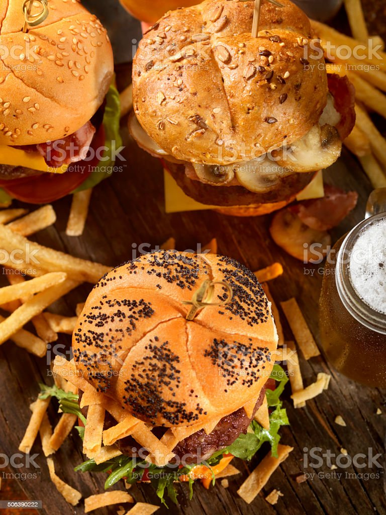 Burgers and Beers stock photo