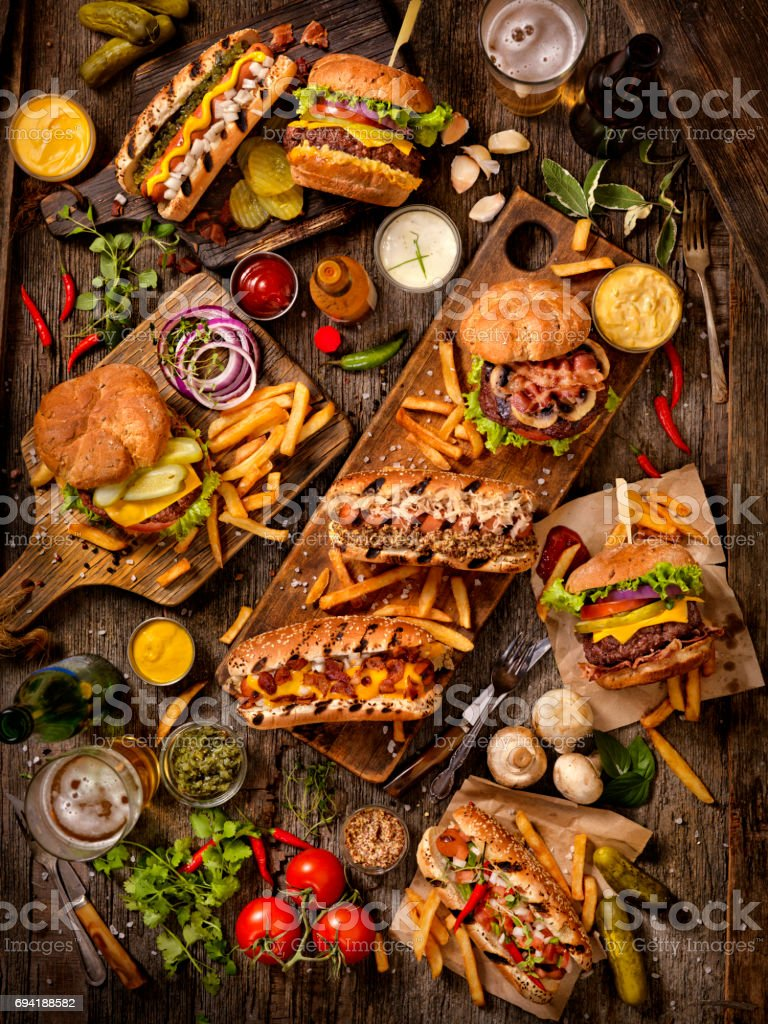 BBQ Burgers and Hotdog Feast stock photo
