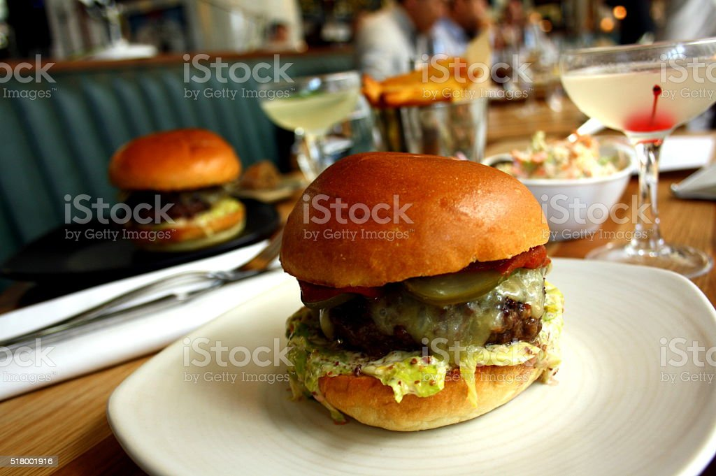 Burgers & Cocktails royalty-free stock photo