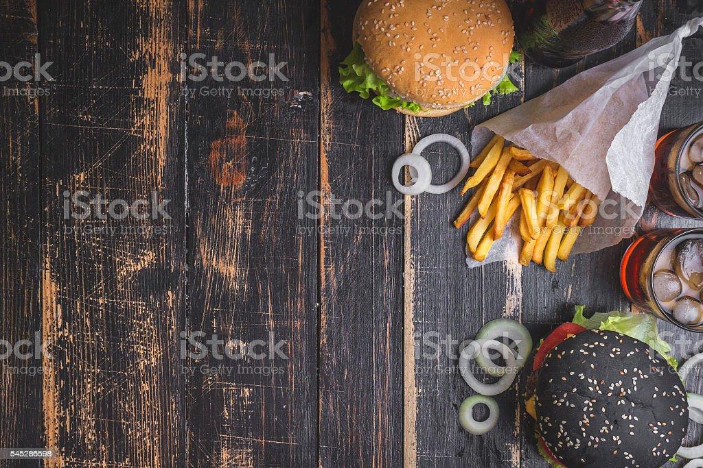 Burgers set background stock photo