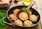Burgers with fish and potato