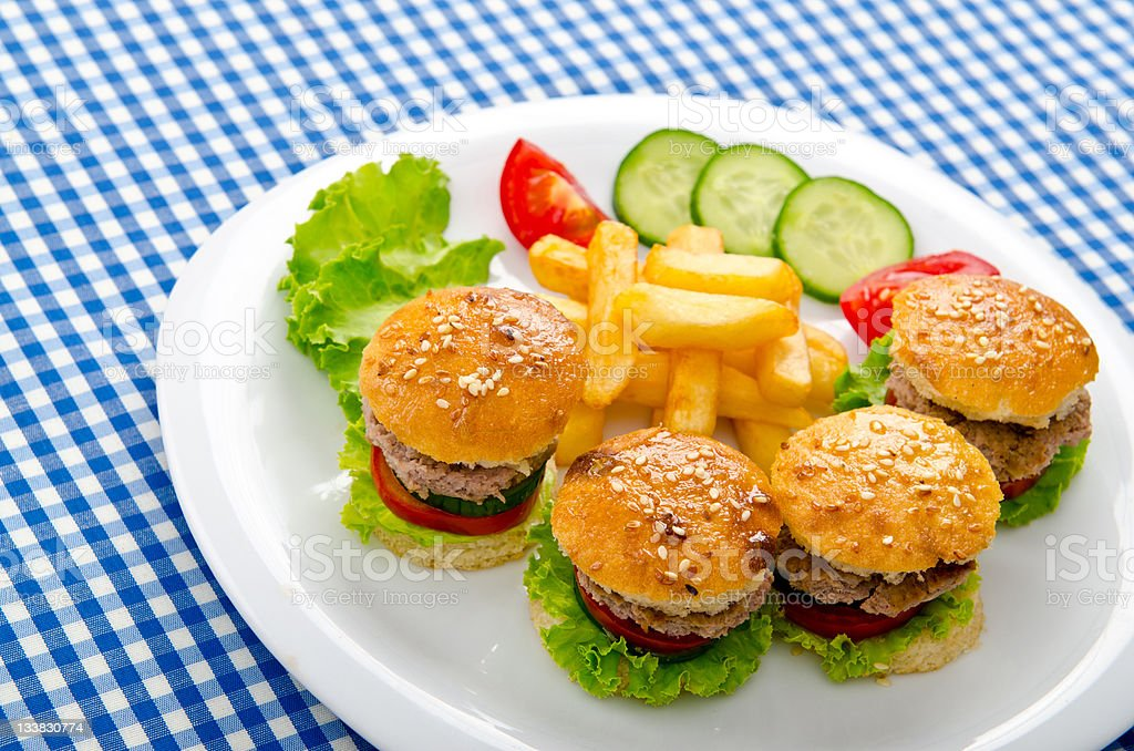 Burgers with french fries in plate royalty-free stock photo