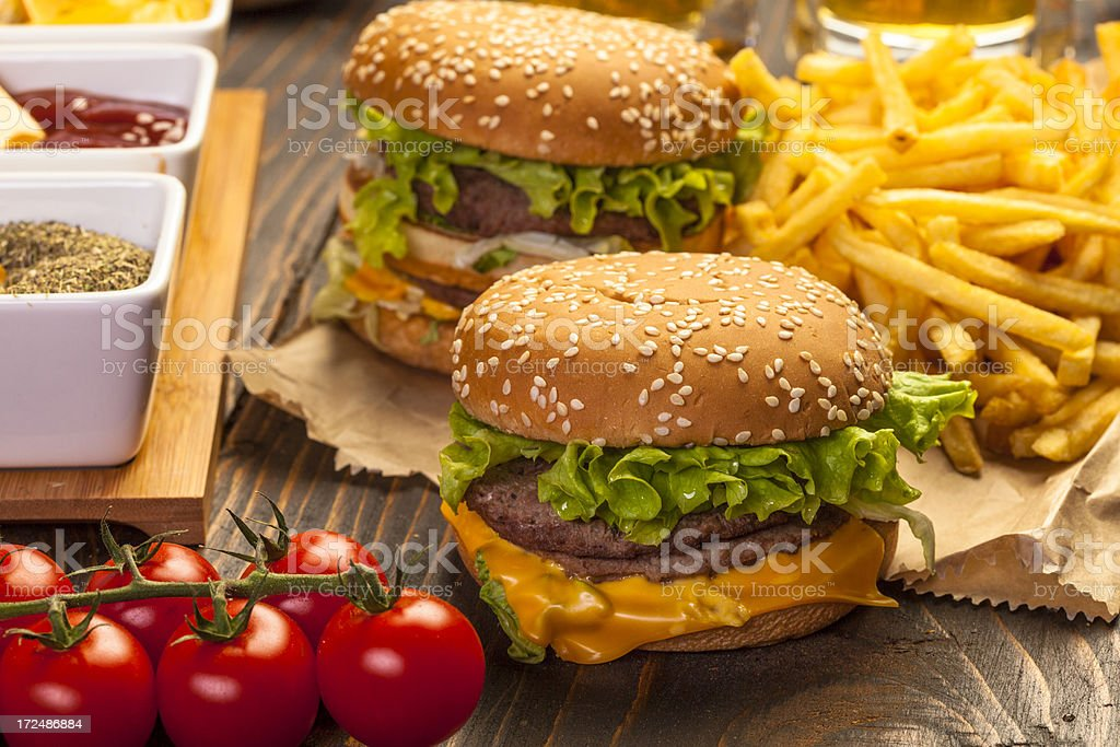 Burgers with fries royalty-free stock photo
