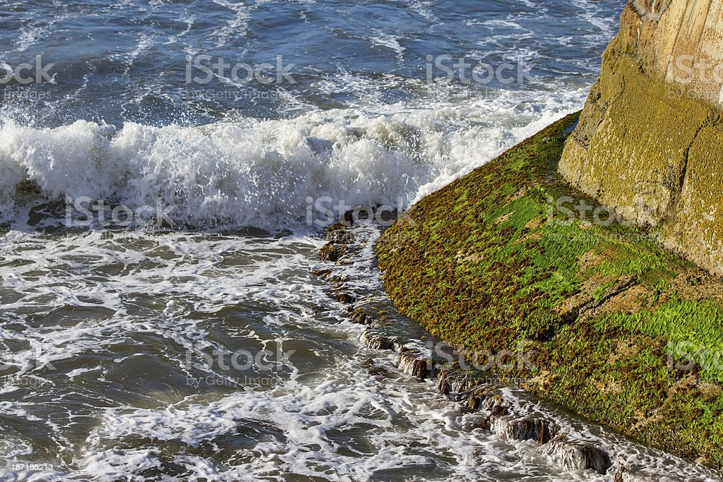 Burghead Pier, a wave arrives stock photo