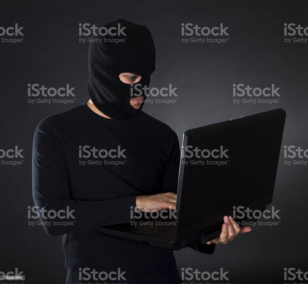 Burglar on Computer royalty-free stock photo
