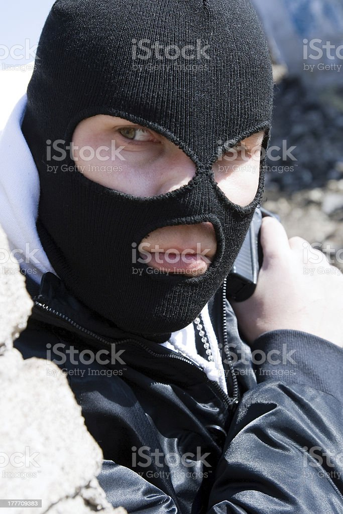 Burglar waiting for his victim royalty-free stock photo