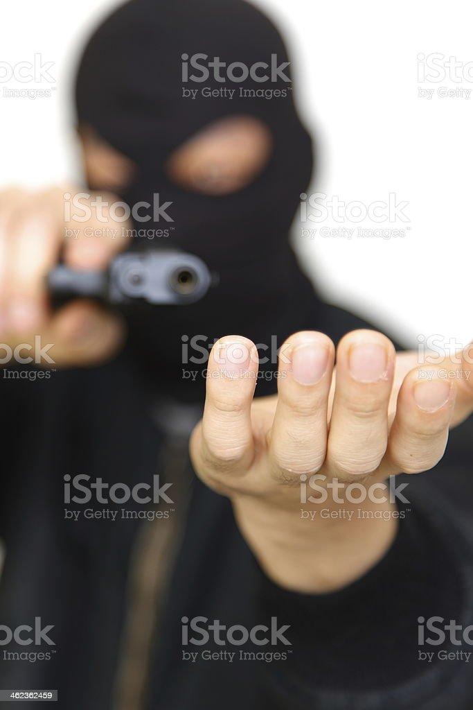 Burglar with hand gun stock photo