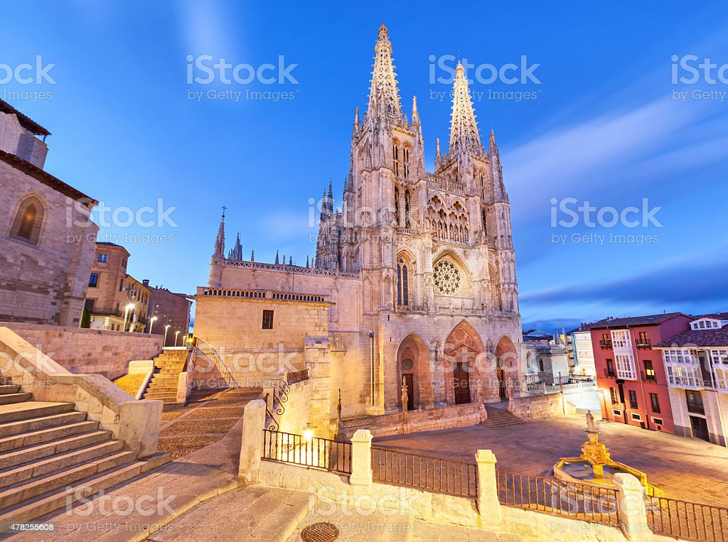 Burgos Cathedral in the evening light stock photo