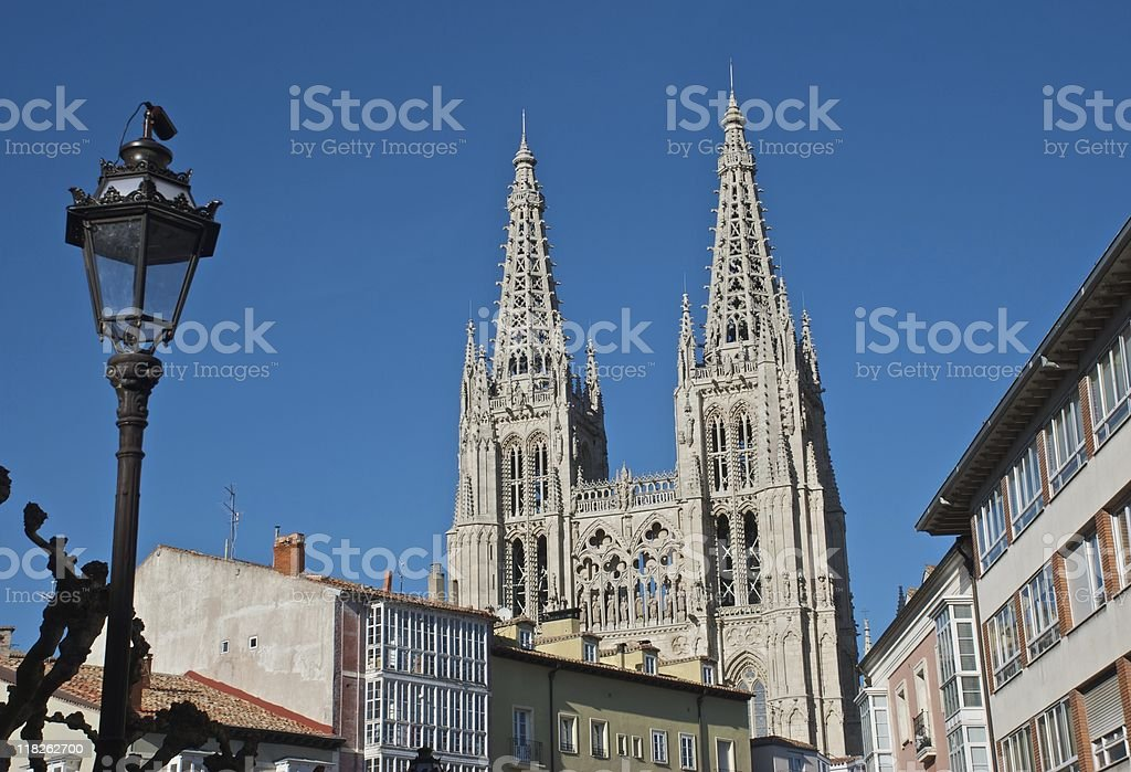 Burgos Cathedral - Steeples stock photo