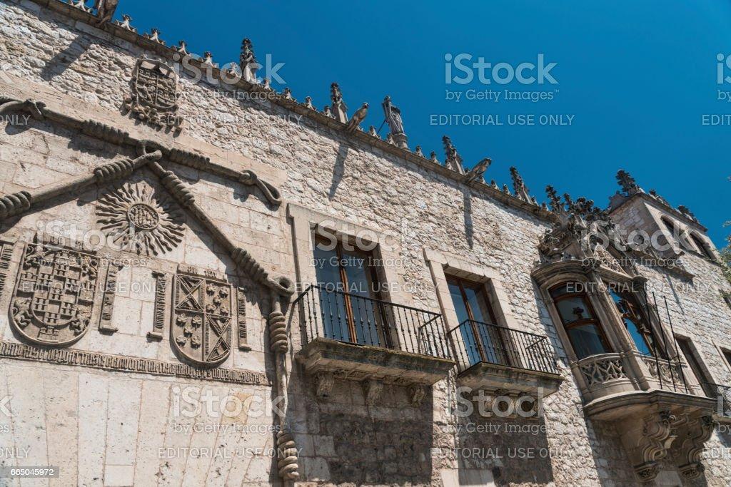 Burgos (Spain): facade of historic building stock photo