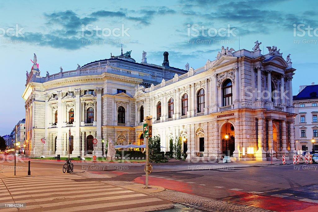 Burgtheater in Vienna at dusk, Austria stock photo