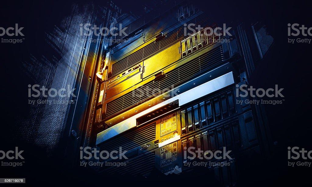 burgundy array supercomputer of data center in performance art stock photo