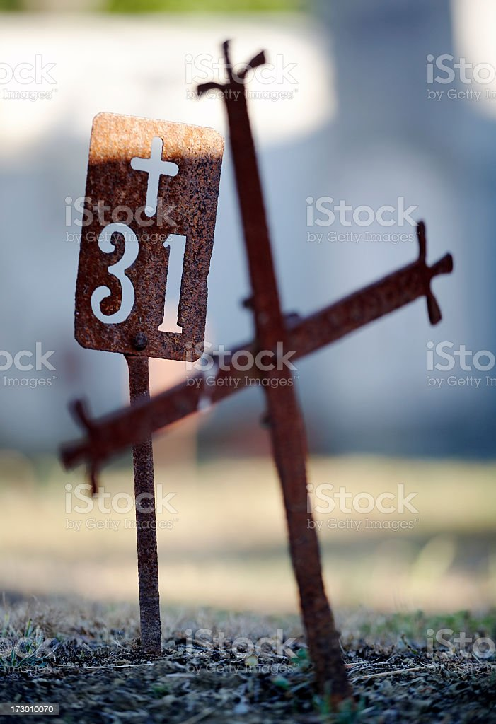 Burial cross on graveyard stock photo