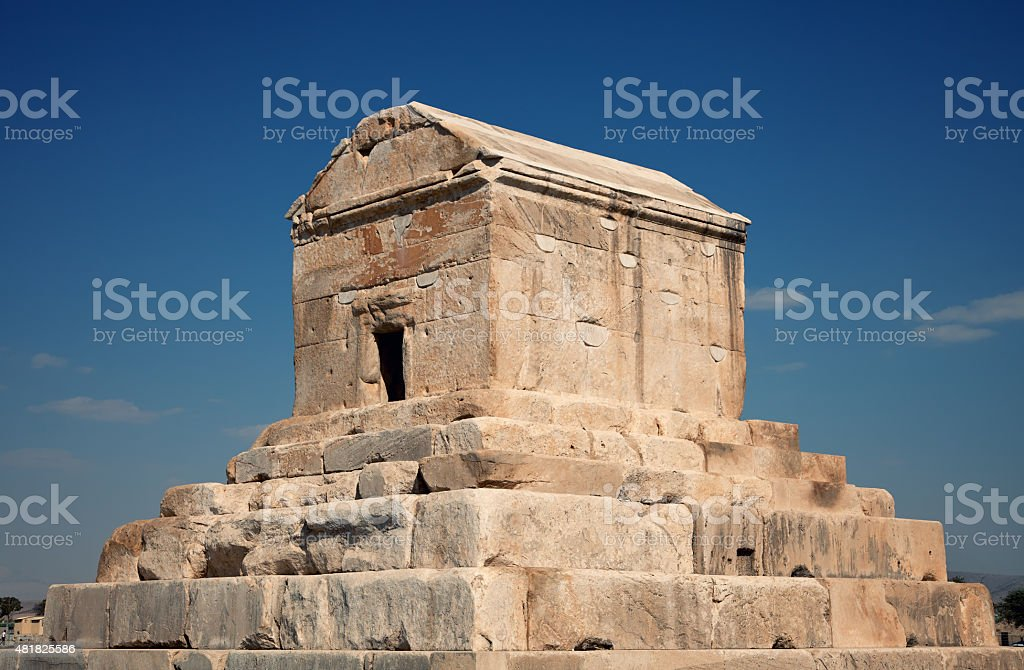 Burial Grave of Cyrus The Great in Pasargad of Shiraz stock photo