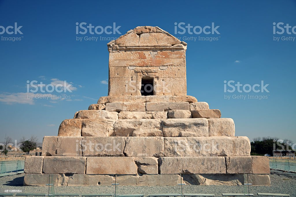 Burial Grave of Cyrus The Great in Pasargad stock photo