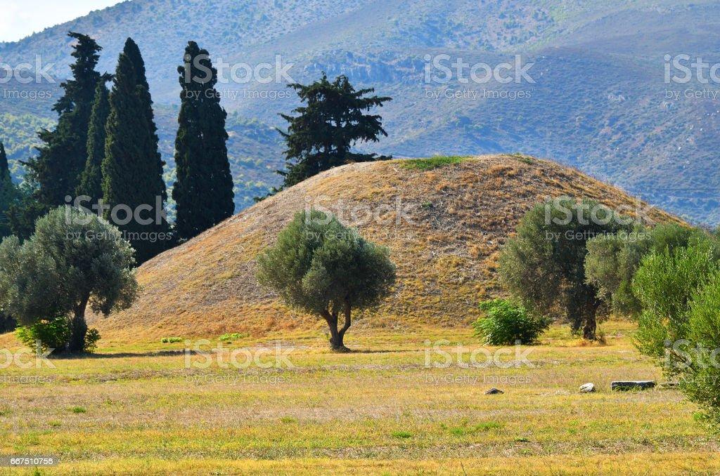 Burial mound on the plain of Marathon battle stock photo