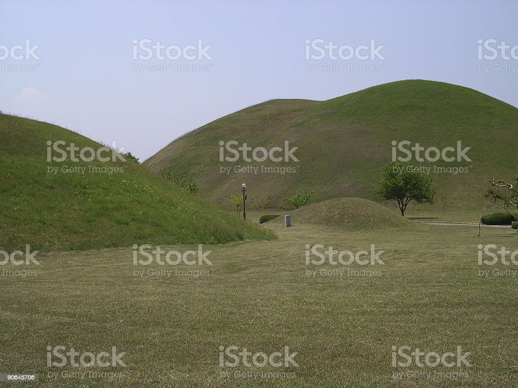 Burial mounds stock photo