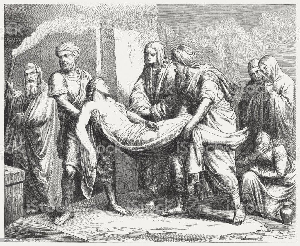 Burial of Christ, by Mathias Schmid (Austrian painter), published 1865 stock photo
