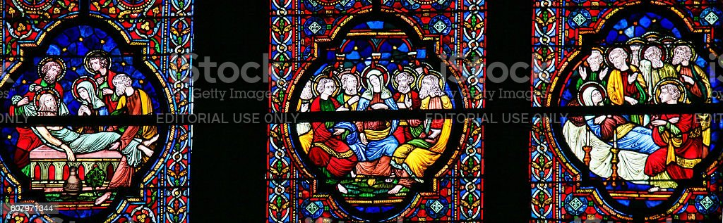 Burial of Jesus, Mary and Pentecost - Stained Glass stock photo