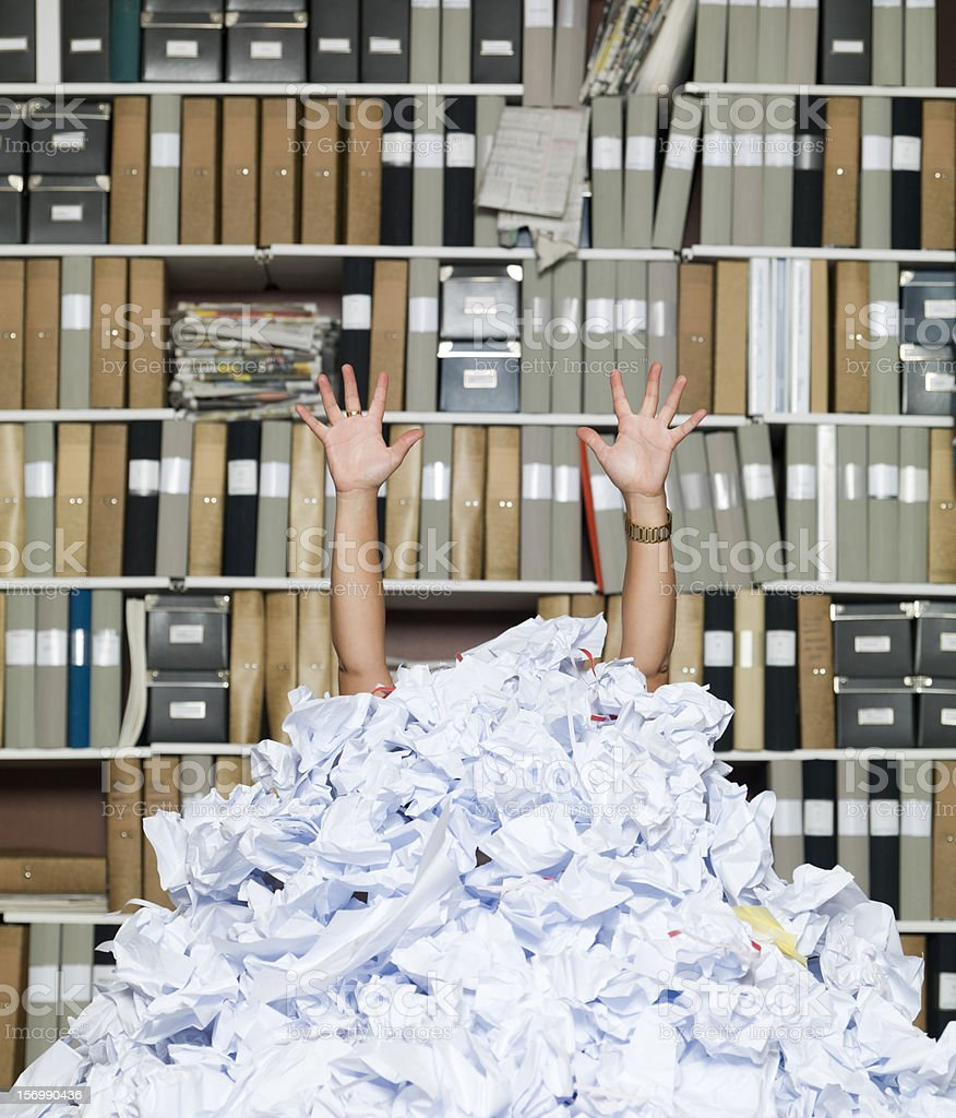 Buried Businesswoman stock photo