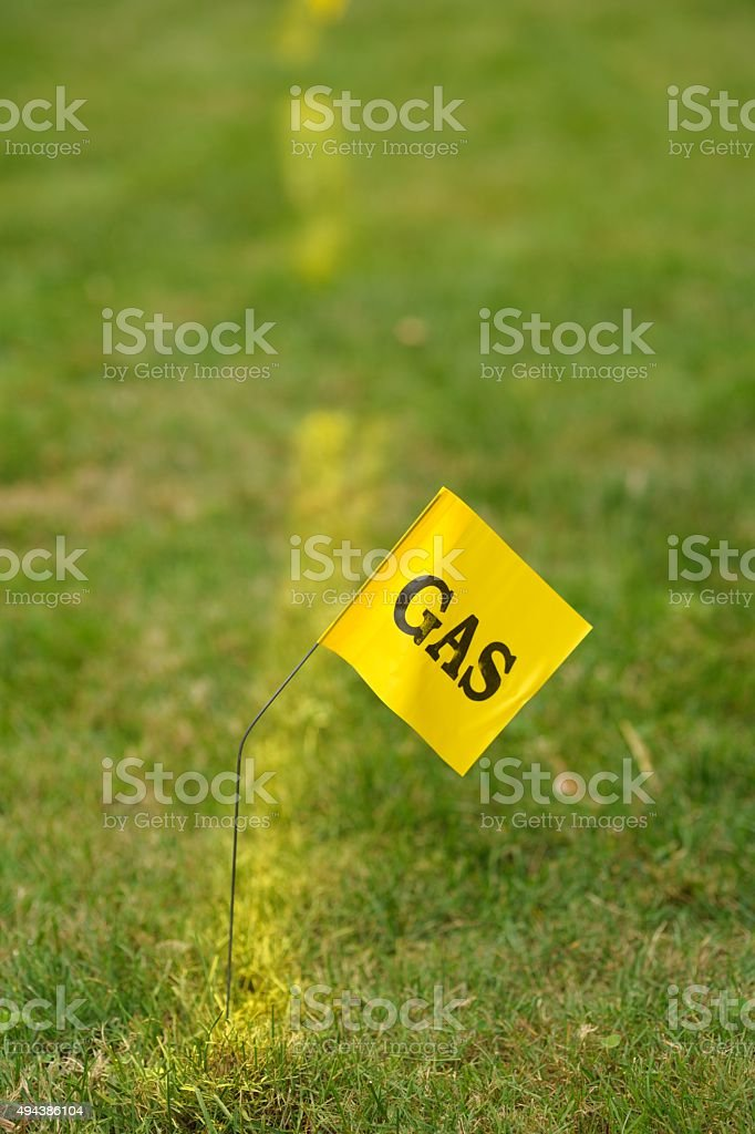 Buried Gas Line, Call Before You Dig, Construction stock photo