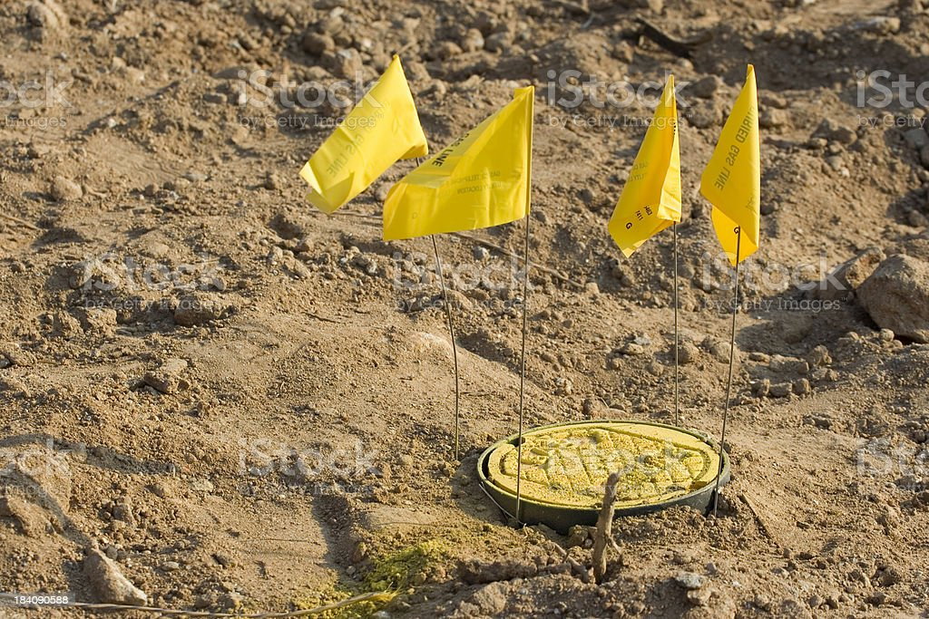 Buried gas line marker royalty-free stock photo