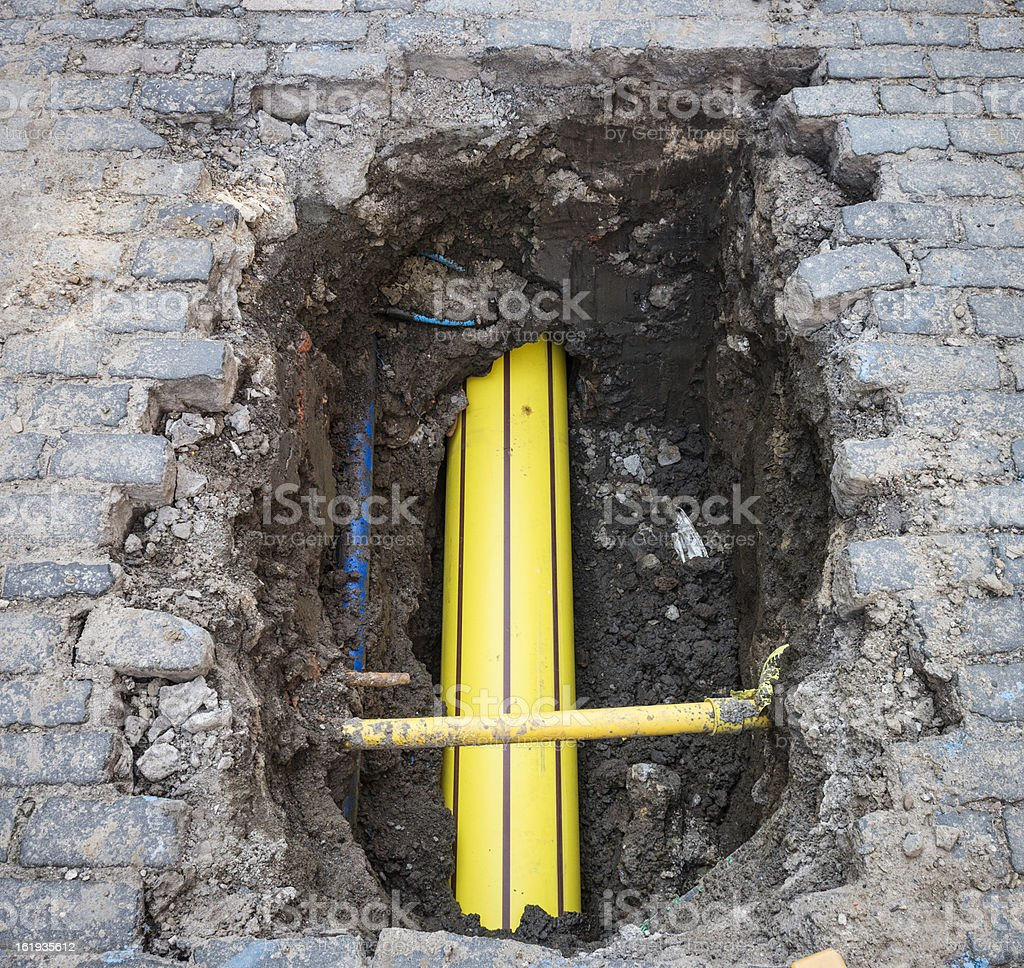 Buried Gas Pipe stock photo