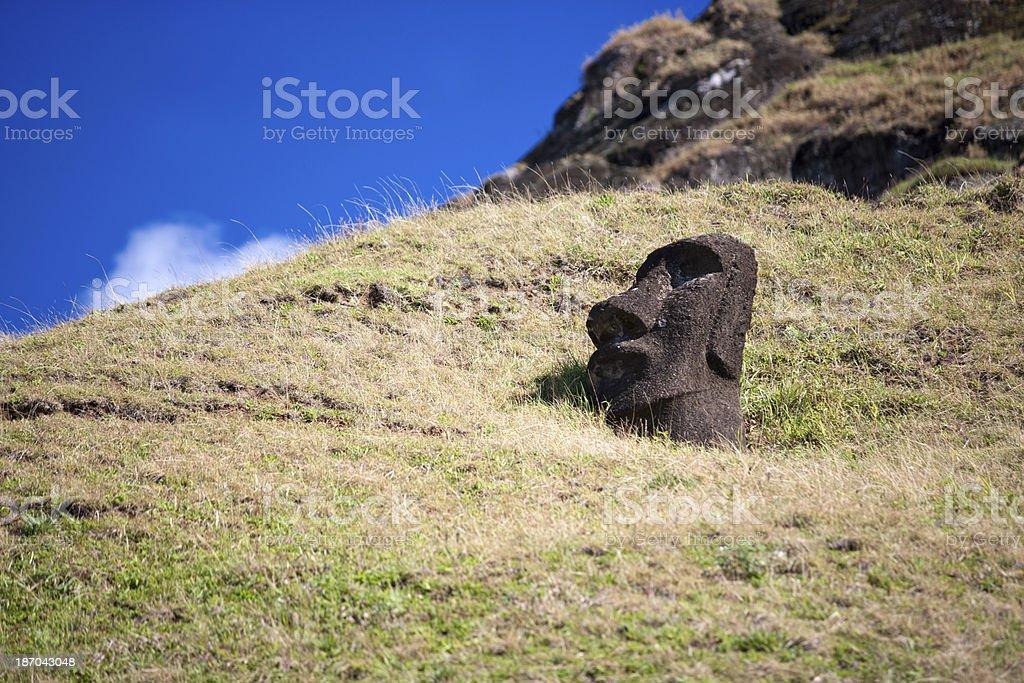Buried Moai royalty-free stock photo