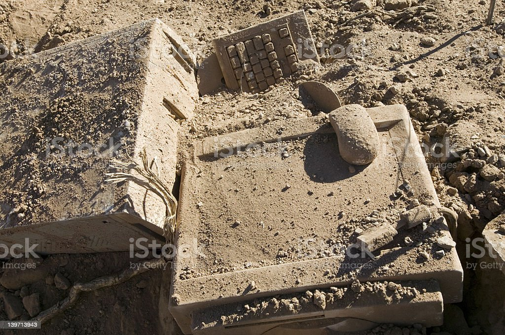 Buried PC royalty-free stock photo