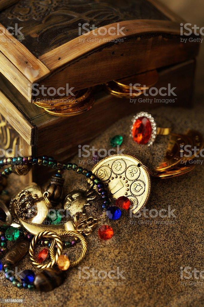 Buried Pirates Treasure Chest royalty-free stock photo