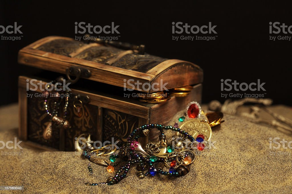 Buried Pirates Treasure Chest stock photo