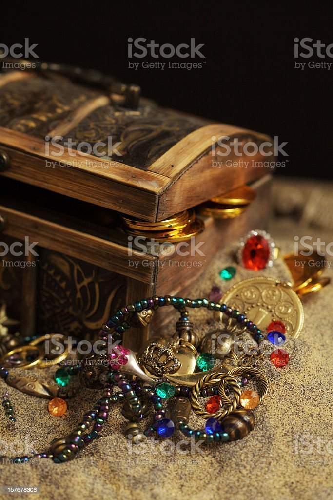Buried Pirates Treasure Chest royalty-free stock photo