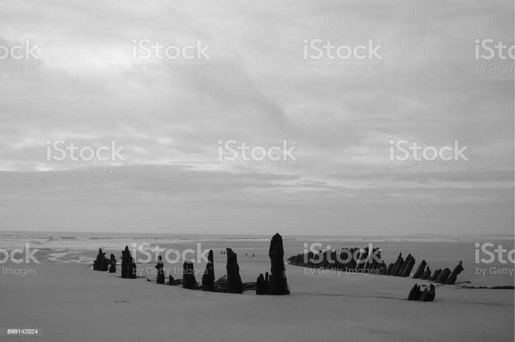 Buried Shipwreck on Scottish Coast stock photo
