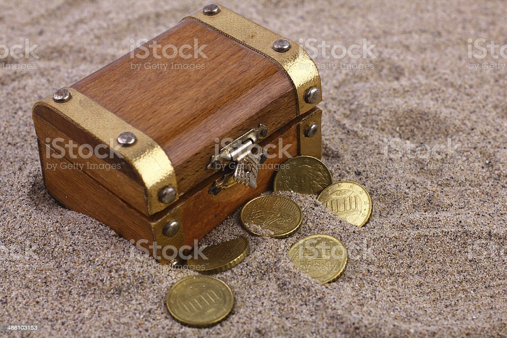 Buried Treasure Chest stock photo
