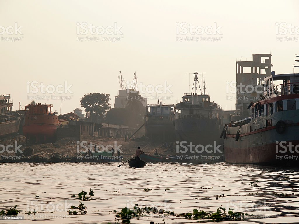 Buriganga river in Dhaka polluted by human ignorance royalty-free stock photo