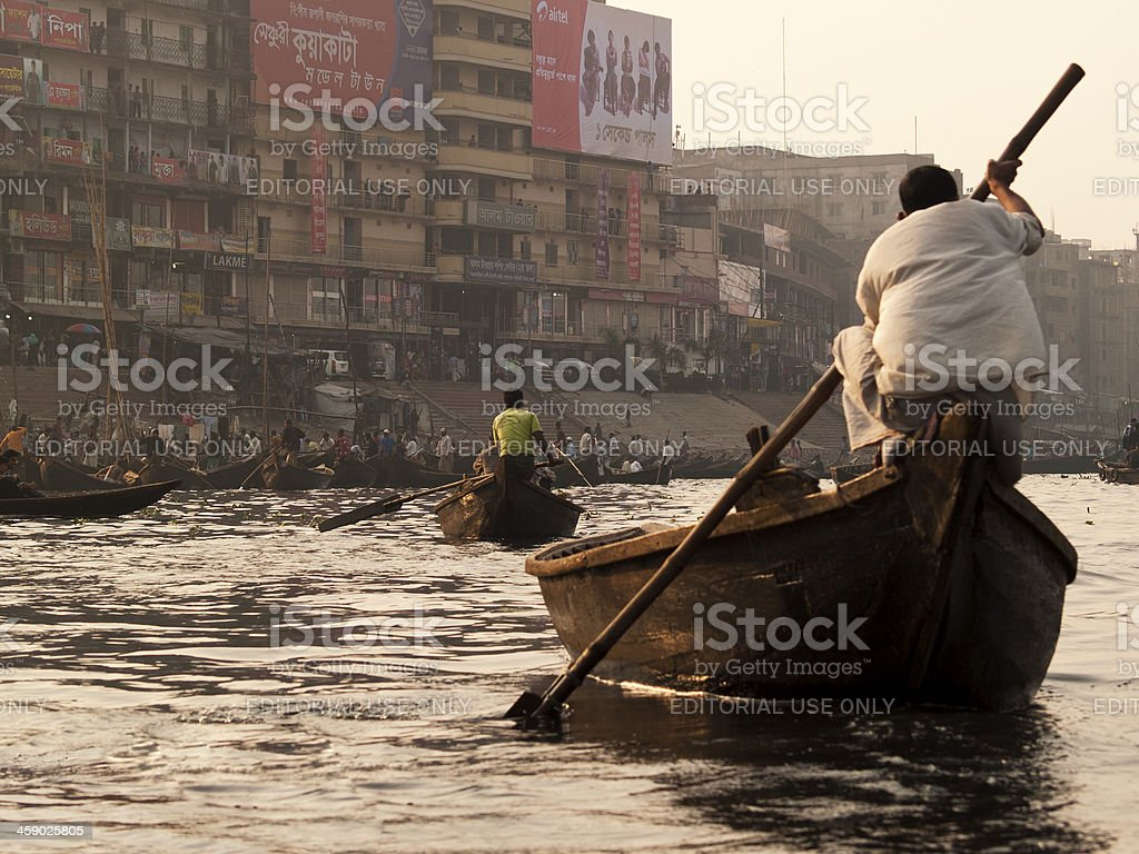 Buriganga river pollution in Bangladesh royalty-free stock photo