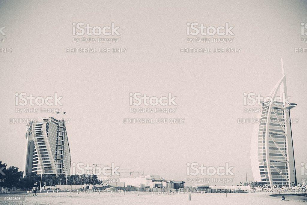 Burj Al Arab and Jumeirah Hotel, Dubai, United Arab Emirates stock photo