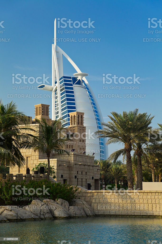 Burj Al Arab and Madinat Jumeirah, Dubai stock photo