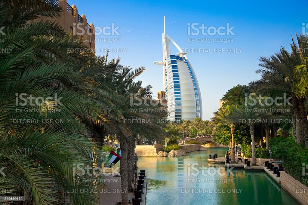Burj Al Arab and Madinat Jumeirah, Dubai stock photo