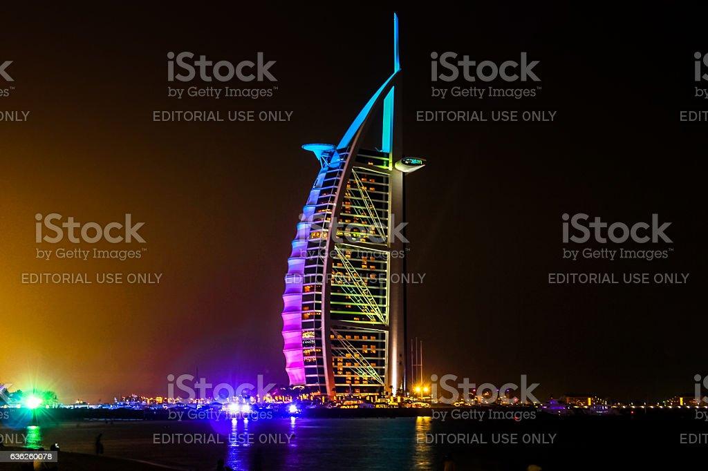 Burj Al Arab by night stock photo