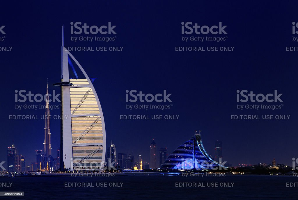 Burj Al Arab Hotel and Dubai skyline at sunset stock photo