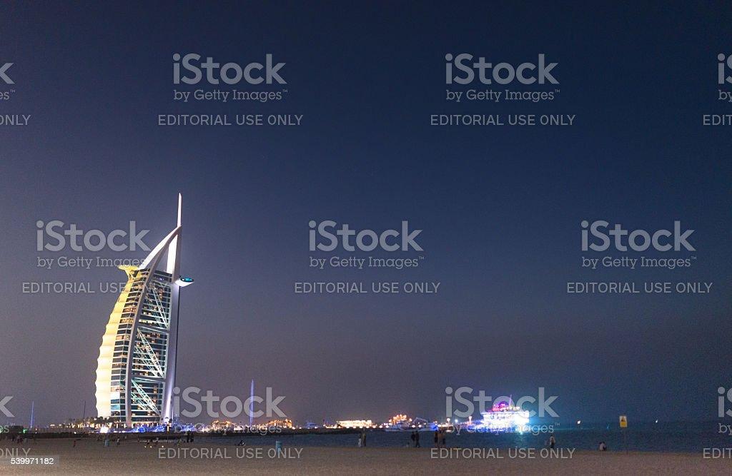 burj al arab hotel at night stock photo